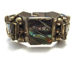 Vintage Mexican Sterling Abalone Mayan Mask Bracelet 7.5 inches
