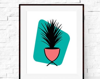 Mid Century Modern Art Print - Grass Tree Print - Home Decor - Botanicals Art Print - Palm Springs
