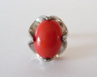 Vintage Sterling Glass Ring Large Orange Red Glass Silver Ring Size 5.5 from TreasuresOfGrace