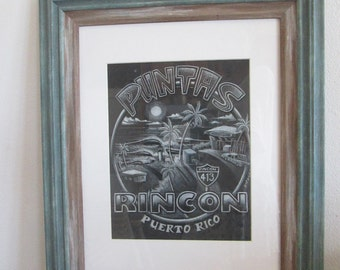Original framed pasted Drawing Framed- Puntas Rincon Puerto Rico 413- Collectable surf art