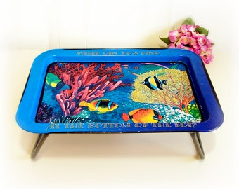 What Can You Find at the Bottom of the Sea folding metal lap tray, breakfast in bed tray. WOW. TV computer stand Vibrant Blue Vintage 80s