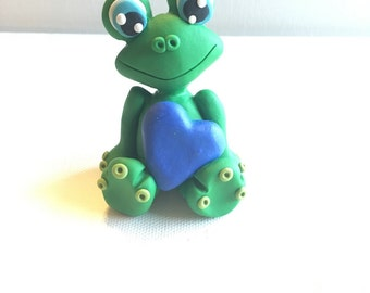 Frog Cake Topper Frog Figurine Blue Hearts Frog Birthday Party Personized First Birthday Cake Topper Child Party  kabclay  topper
