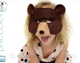 Bear Mask PATTERN.  Kids Bear Costume PDF.