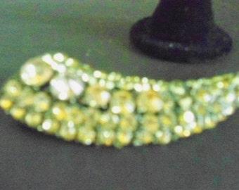 Art Deco Rhinestone Jewelry Set of Dangle Earrings and Large Brooch in Peridot Green Jewelry Mid Century Art Deco