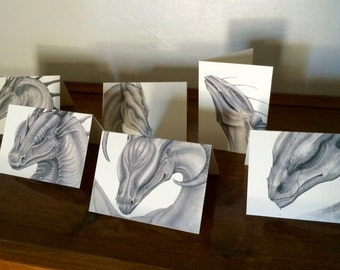 Assorted Dragon Greeting Cards  with Envelopes (set of six)