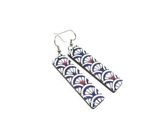 Japanese Long Earrings, wave pattern, Indigo and white, Japanese Chiyogami paper, Washi, Laser Cut wood, Lightweight, Gift Under 20