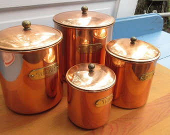 Beautiful Vintage Copper Canister Set/Flour, Sugar, Tea and Coffee/Copper Wedding Gift/Rustic Kitchen/Copper Storage Container