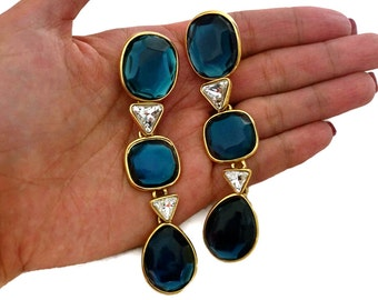 Vintage YVES SAINT LAURENT Long Geometric Faceted Stone Earrings