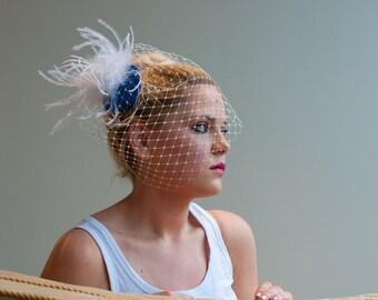 Bridal Birdcage Veil ~ Fascinator birdcage, ostrich feathers,Swarovski, bridal veil, birdcage veil, wedding veil, bridal fascinator, veil
