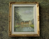 Framed Oil Painting of Bicton Mill England Signed B Shaw 1986 Original Art Landscape Home Decor Wall Hanging
