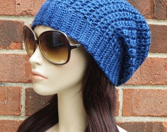 Slouchy Beanie - Womens Crochet Hat - Ocean Blue Slouchy Hat - Fall Winter Accessories - Crochet Slouch Hat  // THE MANHATTAN //