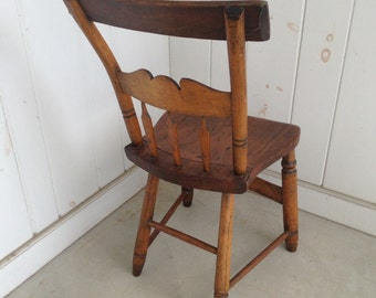Petite Old Antique Wooden Chair Primitive Farmhouse Primitive Country Kitchen