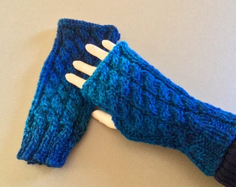 Warm Shades of Blue-Cable Knit Fingerless Gloves. Texting gloves. Hand Warmers. A must have winter accessory. Adult/Teen