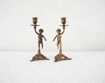 Pair of Two Vintage Brass Cherub Candle Holders