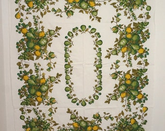 "Green and Yellow Pears on White Vintage Table Cloth 51"" x 64"""
