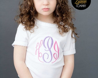 Monogrammed Pink Purple Embroidered Shirt or Bodysuit Baby Girl Sizes