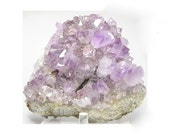 Purple Amethyst Crystals over Pastel Pink Rhodochrosite on Pyrite Core Large Display Mineral Specimen from Mexico