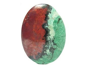 Red Cuprite Blue Green Chrysocolla Semi Precious Gemstone Big Yin and Yang Oval Cabochon Sonora Sunrise gem, Loose Geo Jewel, Semiprecious