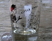 Vintage Little Shot Novelty Shot Glass - Kitschy Diapered Toddler Angers Squirrel - Bow and Arrow Hunting Collectible