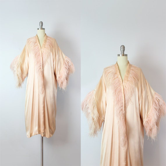 vintage 20s silk feather kimono robe / 1920s pink silk ostrich feather robe / rare flapper robe / boudoir robe / silk feather duster jacket