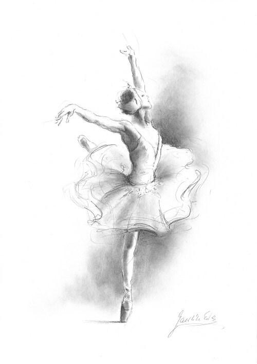 Foto di ballerina stampa di Sketch stampa di disegno