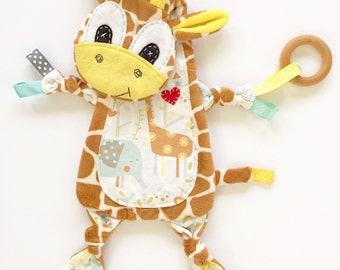Neutral Baby Blanket Giraffe Lovey Toy Clip Cuddle Buddy
