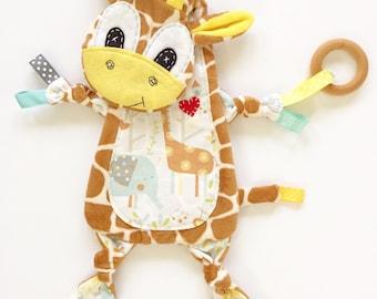 Neutral mini baby blanket giraffe lovey pacifier toy clip cuddle buddy