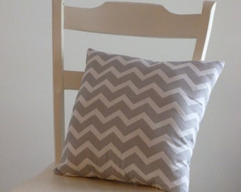 Grey and White Chevron Pillow, decorative