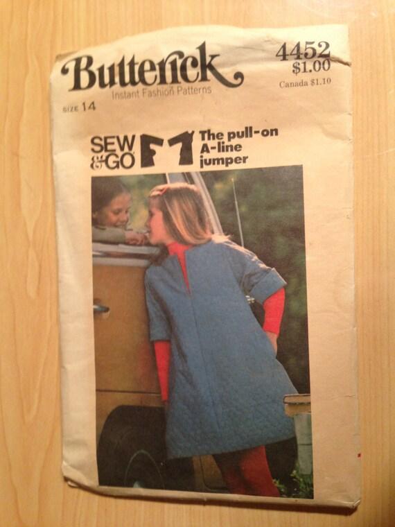 Girls Jumper Butterick Sewing Pattern 4452 70s Size 14