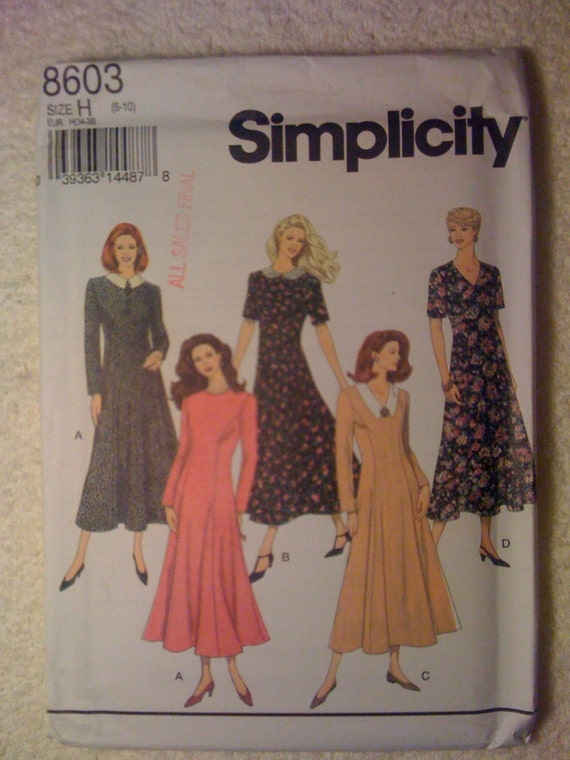 Simplicity 8603 Sewing Pattern 90s Uncut Misses and Miss Petite Dress Size 6-10