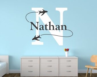 Airplane Wall Decal, Personalized Airplane Nursery, Airplane Decor, Airplane Nursery, Nursery Plane, Airplane Wall Decal - WD0103