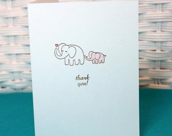 Set of 6 Hand Stamped Elephant Baby Girl Thank You Note Cards