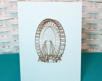 Set of 6 Hand Stamped Ferris Wheel Cards