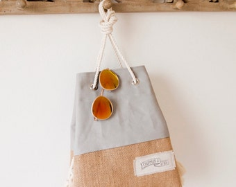 Gray Canvas Tote Beach Bag Khaki Canvas Purse Mini Sandbag