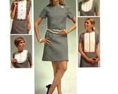 Retro 1960s Fashion Go Go Mini Dress Bib Collar Simplicity 8610 Sewing Pattern Plus Size Bust 38