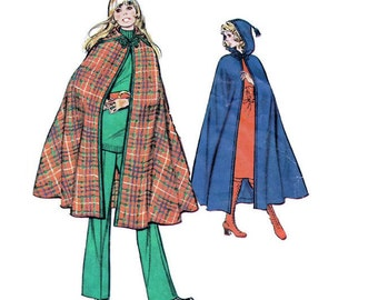 Retro Boho Hippie Style Long Cape McCall's Sewing Pattern Size Large Hooded Poncho Opera Coat