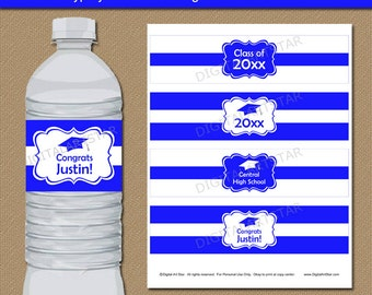 INSTANT DOWNLOAD High School Graduation Water Bottle Labels, High School Graduation Party Favors, 2018 College Graduation Decorations G1