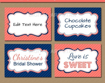 Coral Navy Blue Printable Buffet Cards - Bridal Labels, Editable Baby Shower Food Labels, Birthday Candy Buffet Labels - INSTANT DOWNLOAD