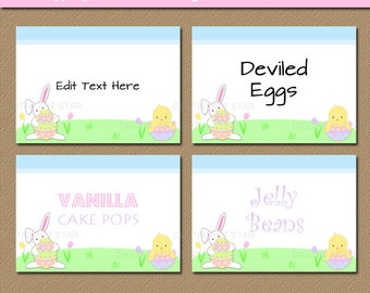 Easter Labels - Printable Easter Decorations - DIY Easter Candy Buffet Labels - EDITABLE Easter Food Tents - Cute Easter Buffet Cards