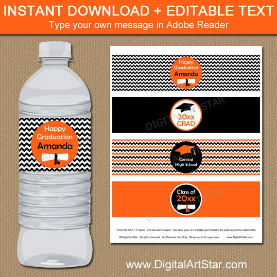 Printable Graduation Water Bottle Labels with Diplomas
