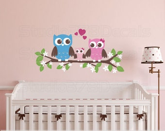 Owls Wall Decal | Couple with Baby Owl on Branch | Childrens Nursery Wall Decor | Baby Boy or Girl Owl Nursery Decor | Vinyl Owl Wall Decal