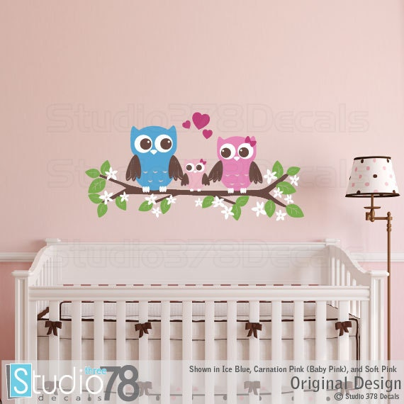 Owls Wall Decal Couple with Baby Owl on Branch Childrens