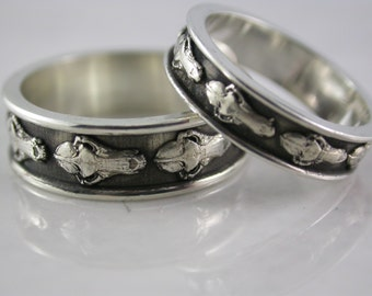 Wolf Skull Band Set (Sterling Silver, Bronze, Stainless Steel) (Wide-7mm)(Narrow-5mm) (Sizes 4-13)