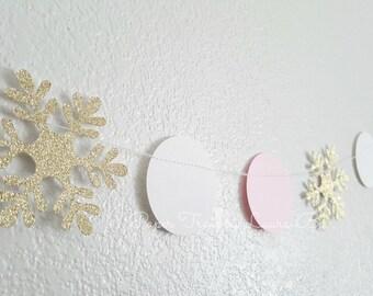 Winter Wonderland Gold and Pink  Snowflake Garland.  Birthday Decorations.  Winter ONEderland.  SnowflakeGarland. 6FT
