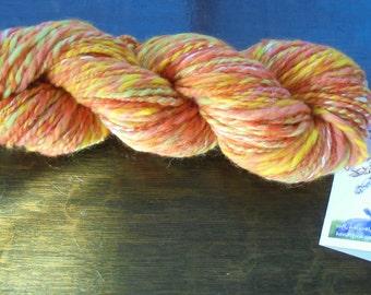 Soft Handspun Yarn, GELATO, Thick and Thin Yarn, 2-ply Handspun Yarn, Squishy Yarn, Merino Yarn, Silk Yarn, Worsted-Weight Handspun, Wool