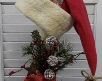 Primitive Santa Hat Make-Do Prim Christmas Winter Holiday Decoration Shelf Sitter
