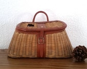 Vintage Fishing Creel - Wicker Fly Fishing Basket - Made in British Hong Kong - Country Cottage Decor