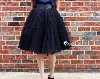Clarisa - Black Tulle Skirt, Puffy Tulle Skirt, Bridesmaids Skirt, Plus Size Tutu, Plus Size Tulle Skirt, Wholesale