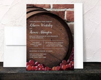 Rustic Wine Barrel Vineyard Wedding Invitations - Country Winery Grapes Brick - Printed Invitations
