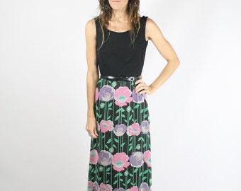 60s Hostess Dress, Vintage floral Maxi dress, Small